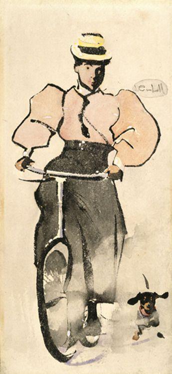 Joseph Crowhall. Girl on the bike