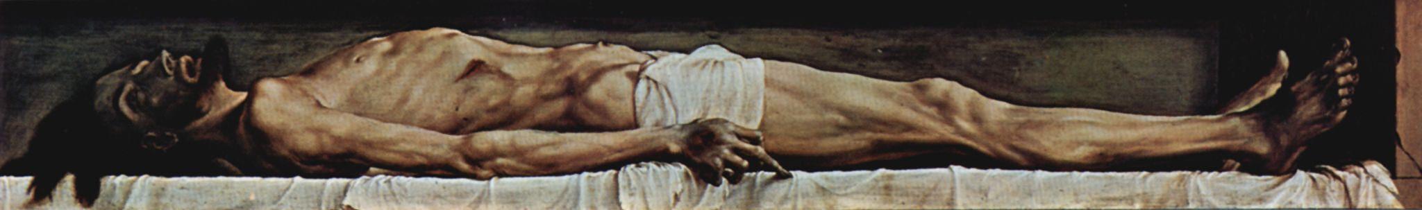 Ганс Гольбейн Младший. Алтарь Ганса Оберрида в кафедральном соборе Фрайбурга, пределла: Мертвый Христос