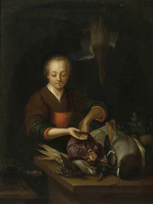 Franz van Miris the Elder. Woman personalsa bird