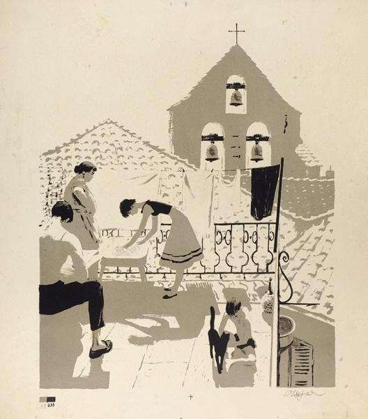 Орест Георгиевич Верейский Россия 1915 - 1993. On the terrace. 1950s b. autolithography
