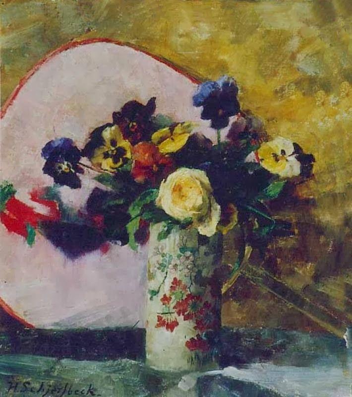 Helena Sophia Scherfbek. Pansies in a Chinese Vase