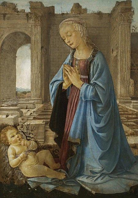 Андреа дель Верроккьо. Мадонна молится на младенцем Иисусом/ Мадонна Раскина (мастерская Веррокьо)