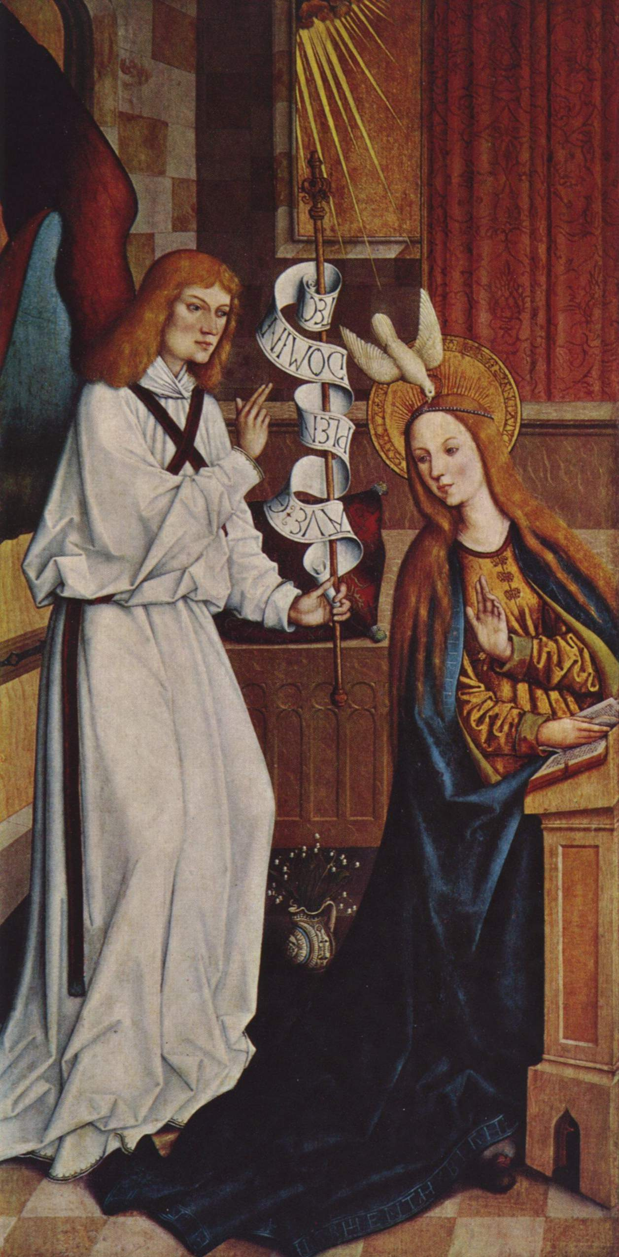 Bartholomew Tzeitblom. Shahski the altar, the scene from the inner side of the left wing: the Annunciation of Mary