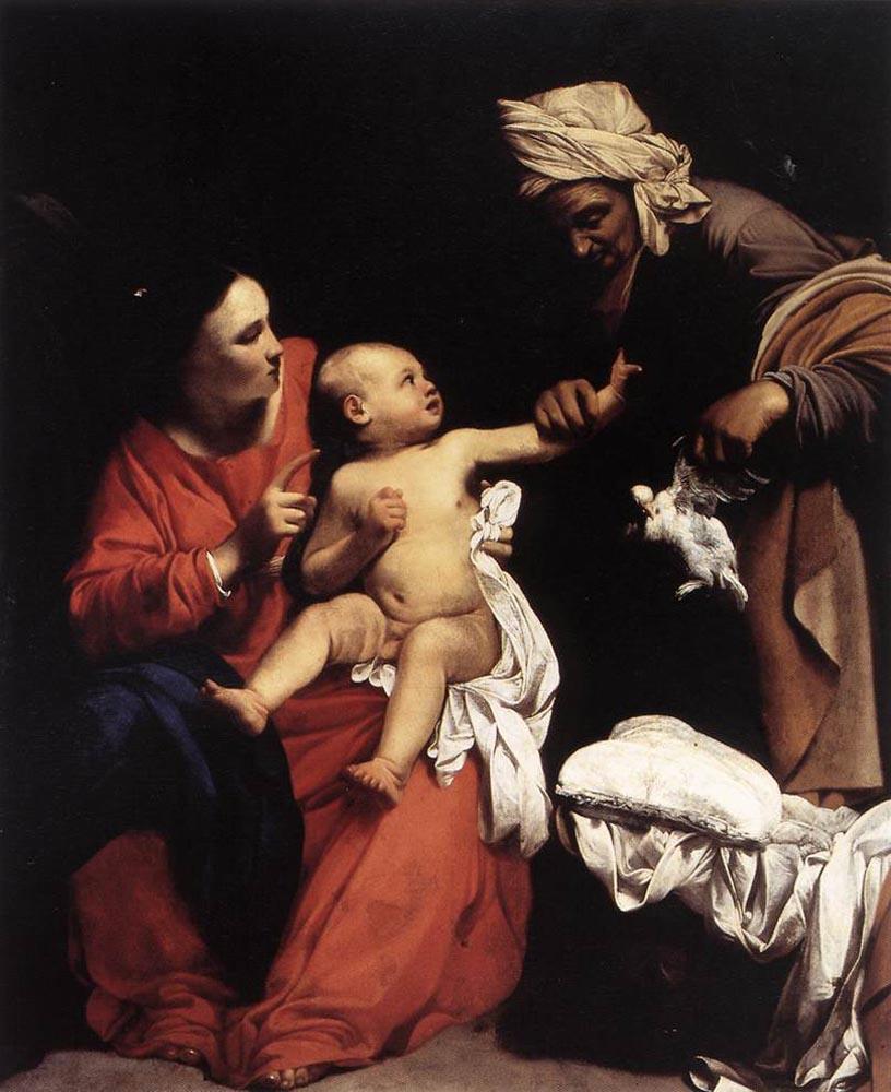 Carlo Saraceni. Madonna and child with Saint Anne