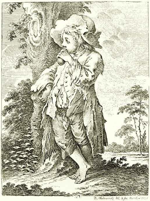 Даниэль  Николай Ходовецкий. Мальчик-нищий у дерева