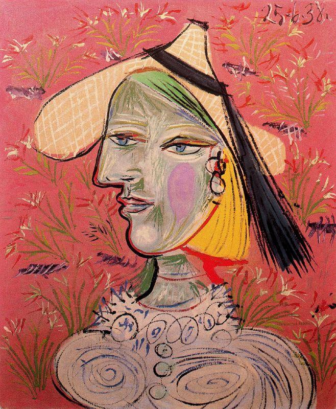 Пабло Пикассо. Женщина в соломенной шляпе на цветочном фоне (Мари-Терез)