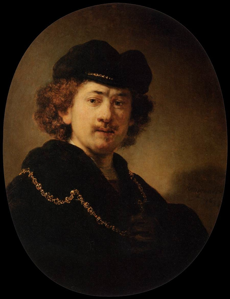 Rembrandt Harmenszoon van Rijn. Self-portrait with hand on chest