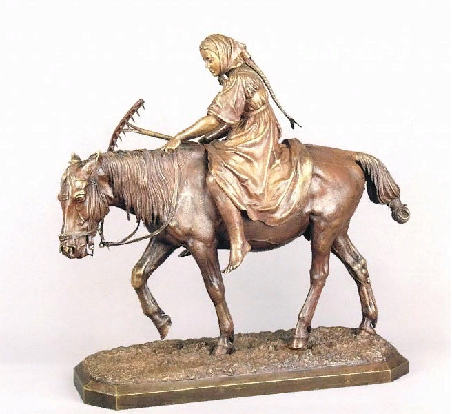 Nikolay Ivanovich Liberich. Girl with a rake on horseback