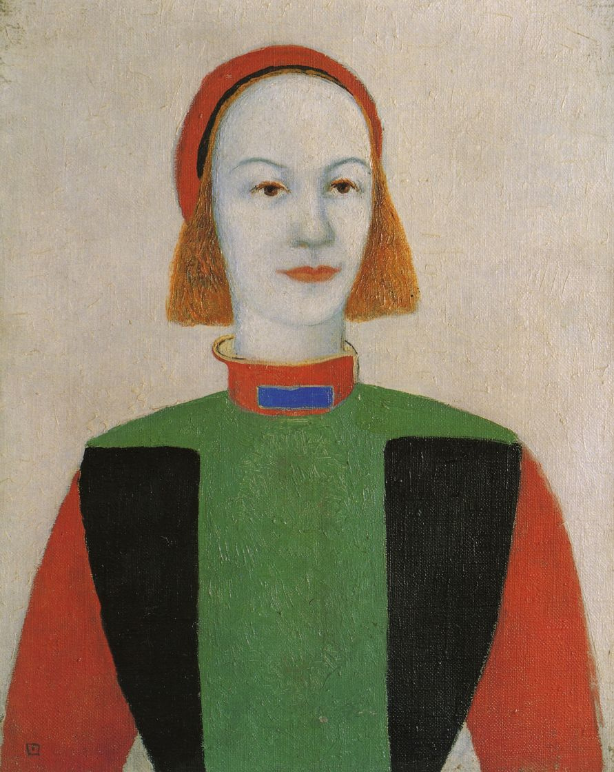 Kazimir Malevich. Head of a young modern girl