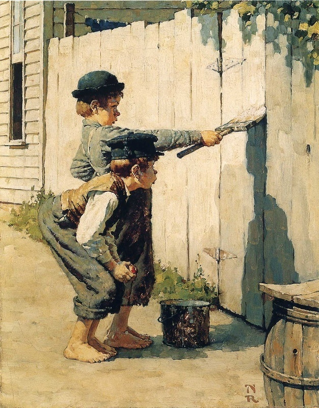 Norman Rockwell. Tom Sawyer paints the fence