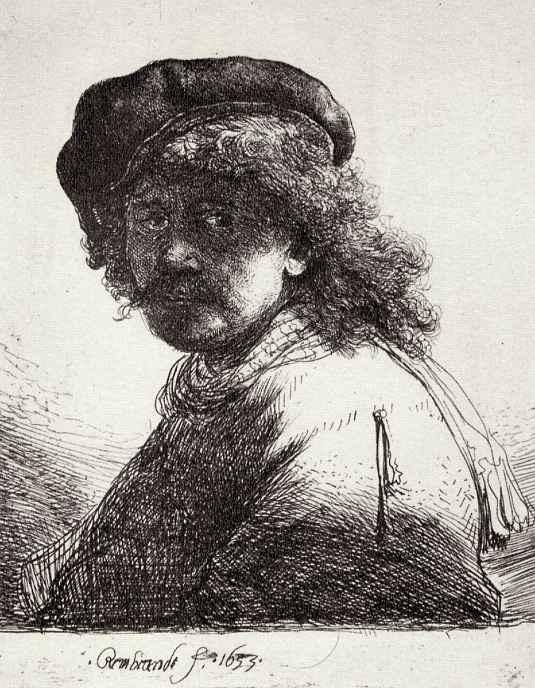 Рембрандт Ван Рейн. Автопортрет с шарфом