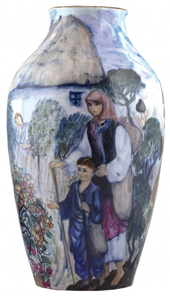 """Anna Maksimovna Efimova-Ovtsyna. Vase from the cycle """"Woman of Ukraine before and after the Revolution."""""""