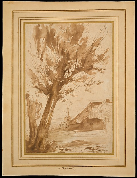 Landscape with tree and farmhouse