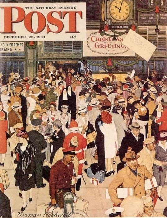 "Норман Роквелл. Союзная станция. Обложка журнала ""The Saturday Evening Post"" (23 декабря 1944 года)"
