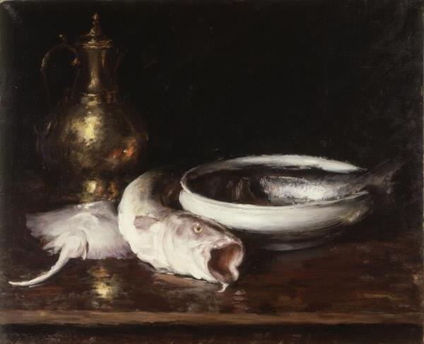 William Merritt Chase. Still life with fish