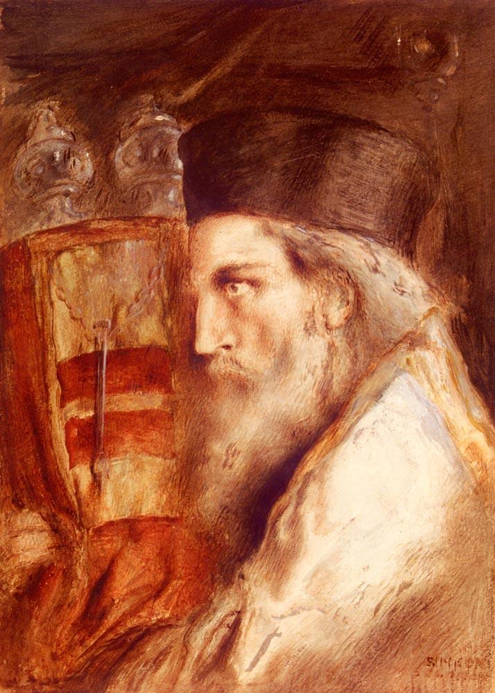 Simeon Solomon. A Rabbi Holding The Torah