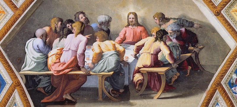 The last supper. The fresco of Raphael loggias of the Palace of the Pope in the Vatican