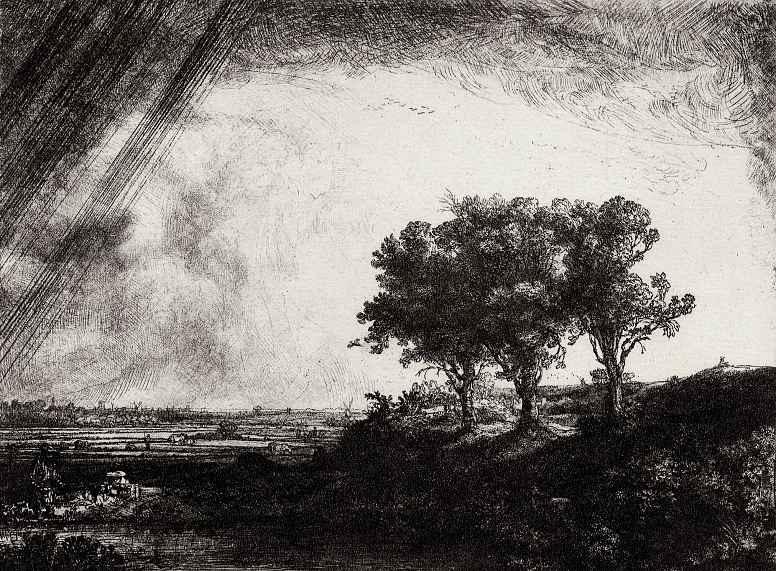 Рембрандт Ван Рейн. Пейзаж с тремя деревьями