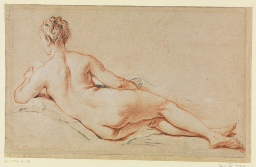 Francois Boucher. Nude woman, rear view