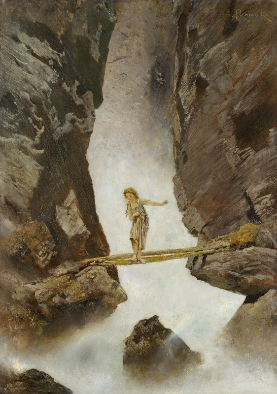 Anton Romako. Girl Crossing a Mountain Torrent