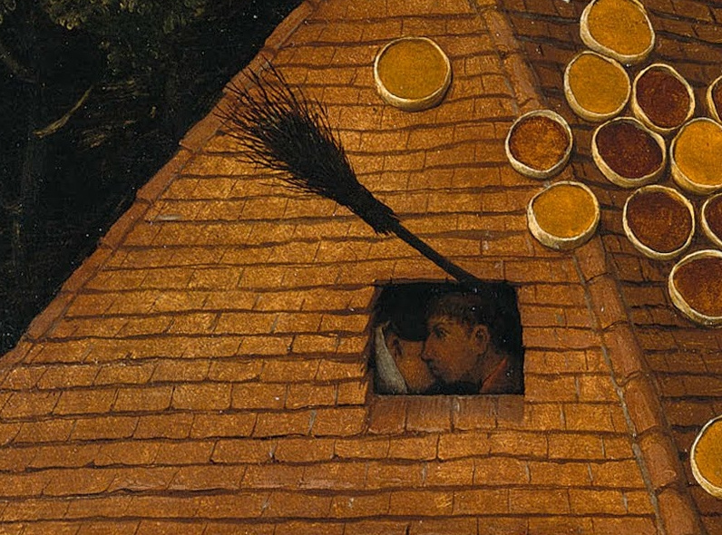 Pieter Bruegel The Elder. Flemish proverbs. Fragment: Marry under a broom - cohabitation without marriage