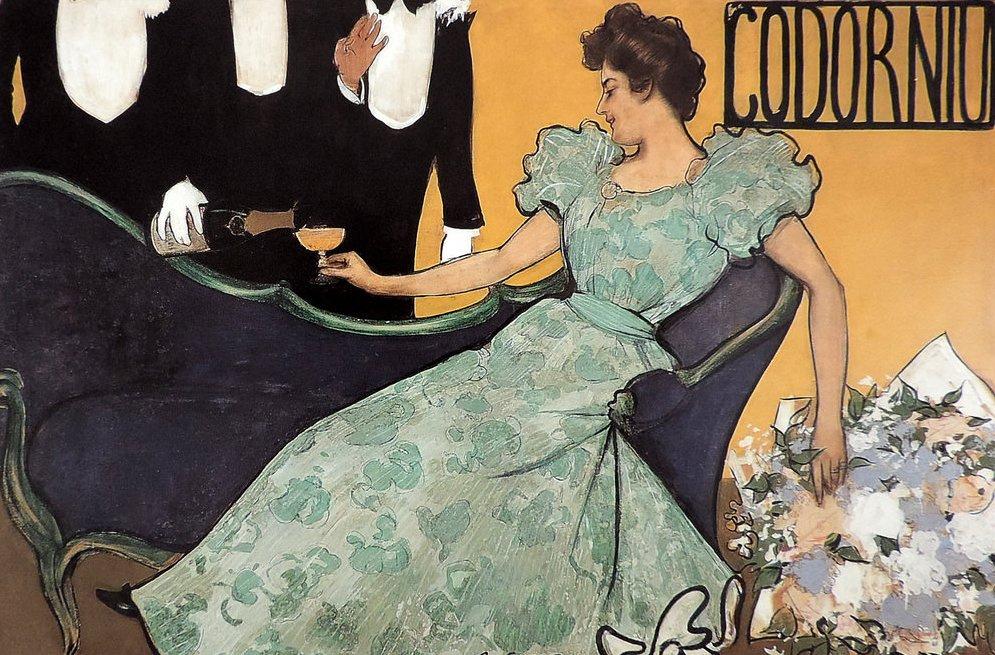 """Рамон Касас Карбо. Рождественский вечер. Дизайн для рекламы шампанского """"Кодорни"""""""