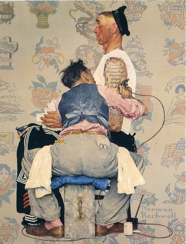 "Norman Rockwell. Tattoo artist. Cover for the magazine ""The Saturday Evening Post"" (March 4, 1944)"