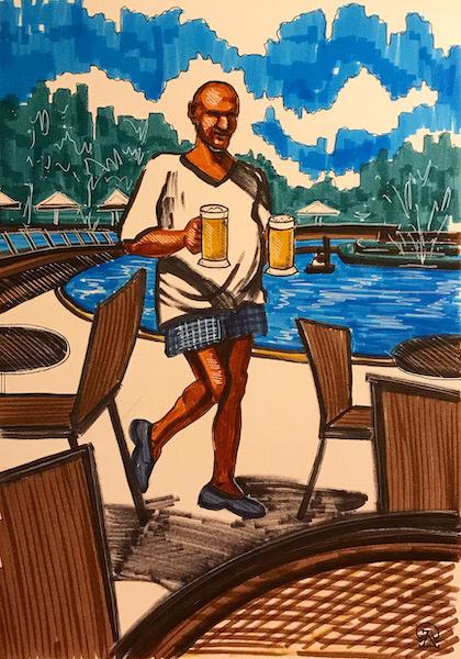 Larissa Lukaneva. Phu Quoc. Beer. Sketch.