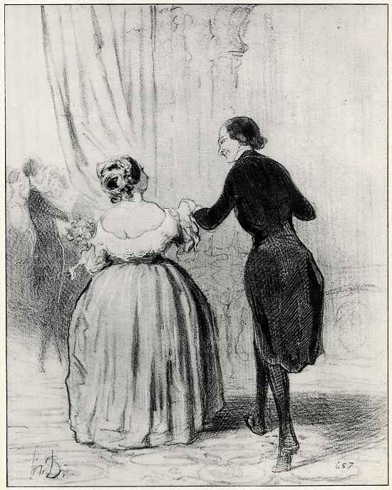 """Оноре Домье. На благотворительном празднике: """"Сударыня, мы танцевали в пользу бедных, позвольте же нам выпить шампанского за хорошее дело!"""""""