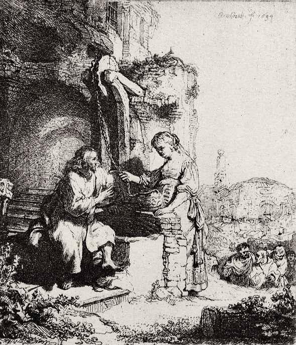 Рембрандт Ван Рейн. Христос и самаритянка
