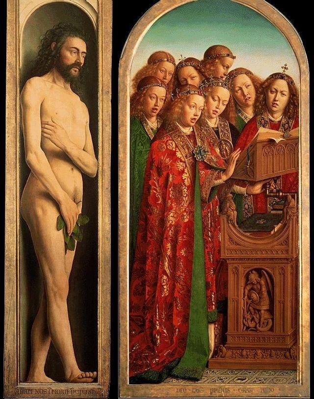 Ян ван Эйк. Генский алтарь. Левая створка: Адам и поющие ангелы