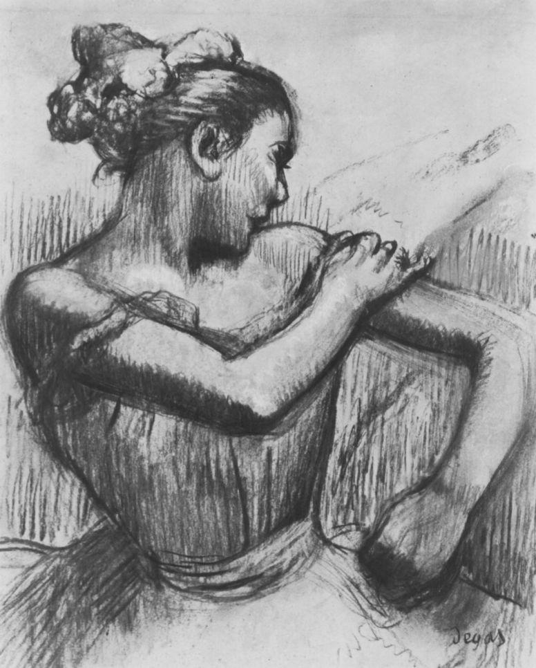 Эдгар Дега. Полуфигура балерины, завязывающей бант на плече