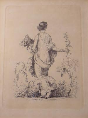 Unknown artist. Woman picking field herbs.