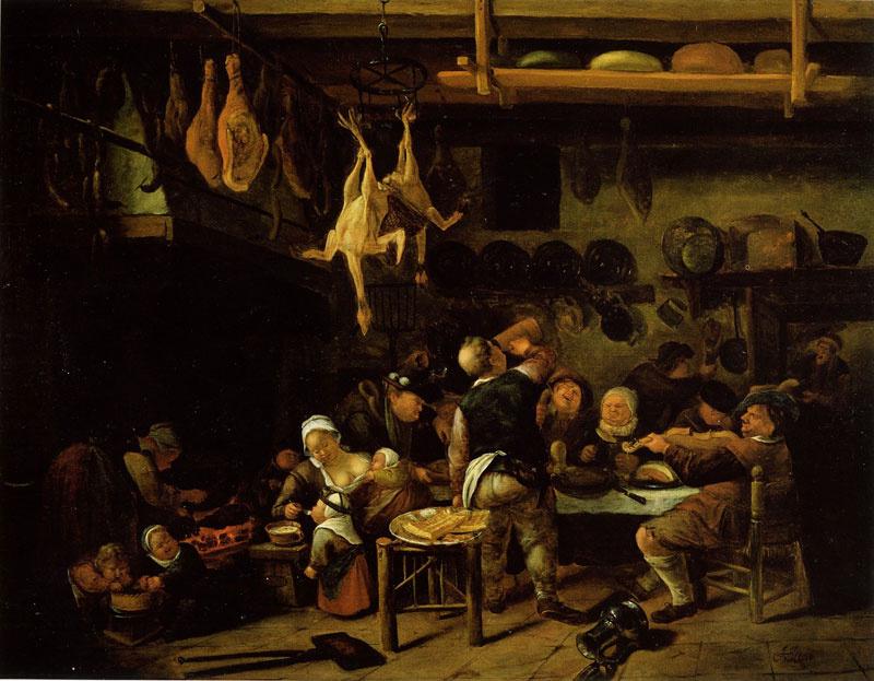 Jan Steen. The prosperous peasant kitchen