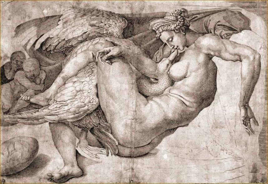 """Michelangelo Buonarroti. Engraving with the destruction of the painting """"Leda and the Swan"""""""
