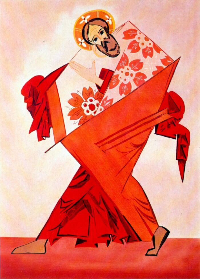Наталья Сергеевна Гончарова. Эскиз костюма святого Андрея к балету Леонида Мясина «Литургия»