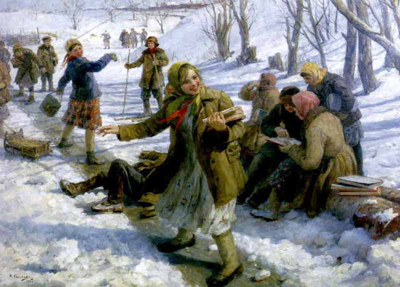 Fedor Vasilyevich Sychkov. Return from school.