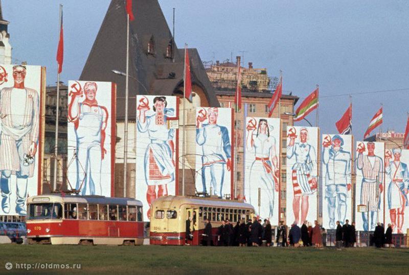 Historical photos. Festive panels on Komsomolskaya Square in Moscow