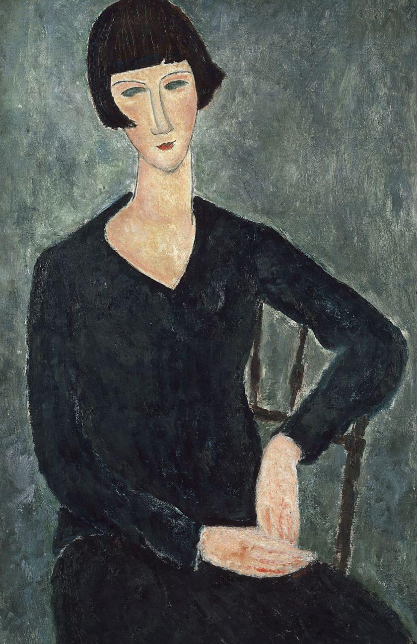 Amedeo Modigliani. Portrait of a seated woman in a blue dress