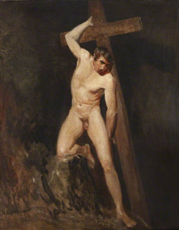 Description of the artwork «A naked man with a cross. Essay on the motifs  of Michelangelo
