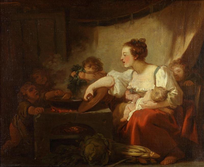 Jean-Honore Fragonard. Cooking dinner