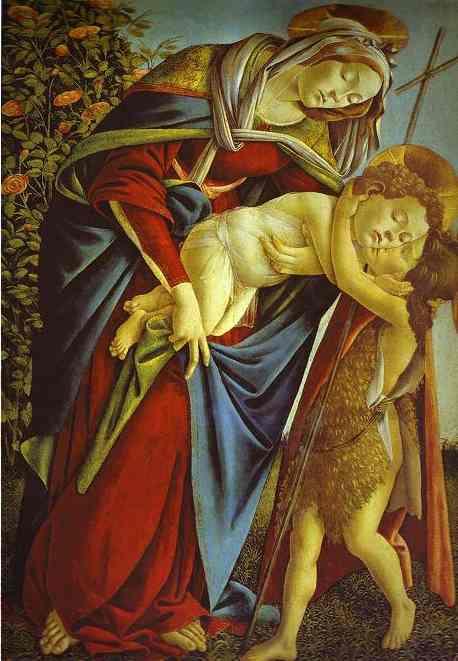 Сандро Боттичелли. Мадонна с младенцем и молодым Иоанном Крестителем