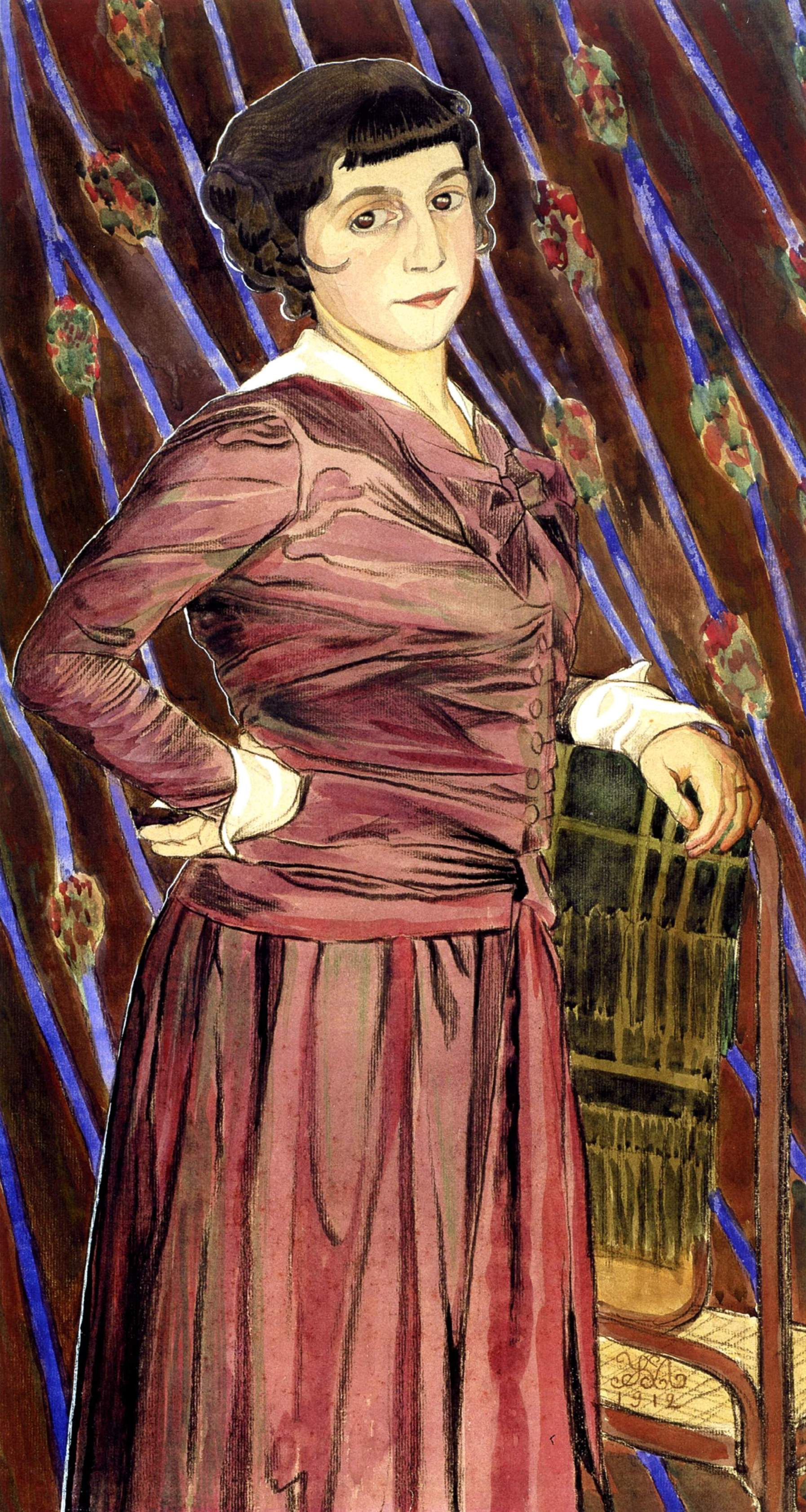 Mikhail Ivanovich the Beetle. Portrait of an Unknown Woman in a Brown and Purple Dress