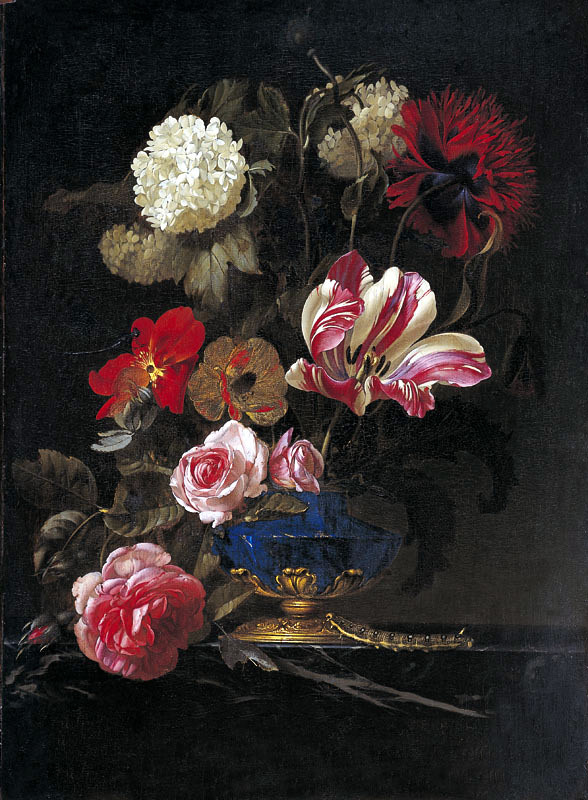 Willem van Aelst. Vase with flowers and a caterpillar