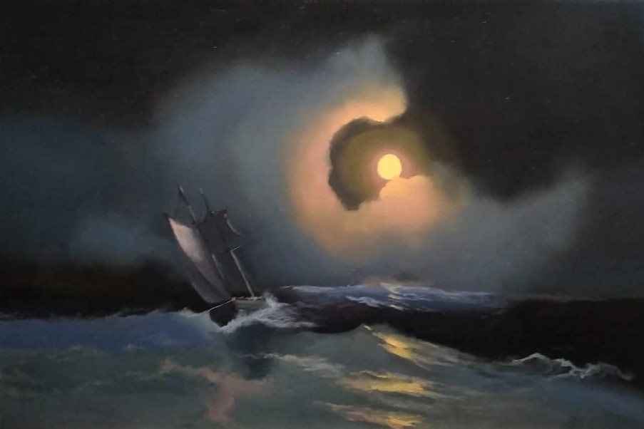 Lilita Salimova. A storm on the sea on a moonlit night