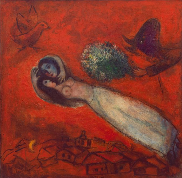 Marc Chagall. Lovers in the red sky