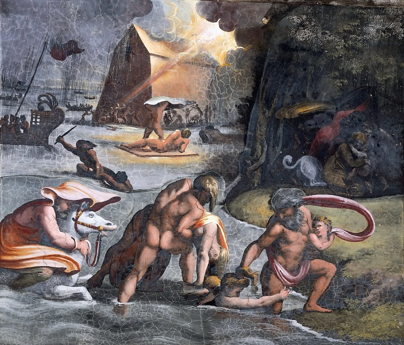 Raphael Sanzio. Deluge. The fresco of Raphael loggias of the Palace of the Pope in the Vatican