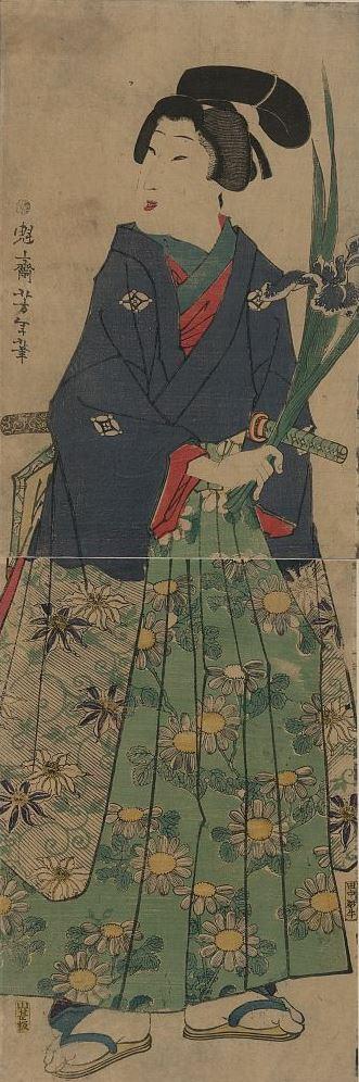 Tsukioka Yoshitoshi. Young woman with irises