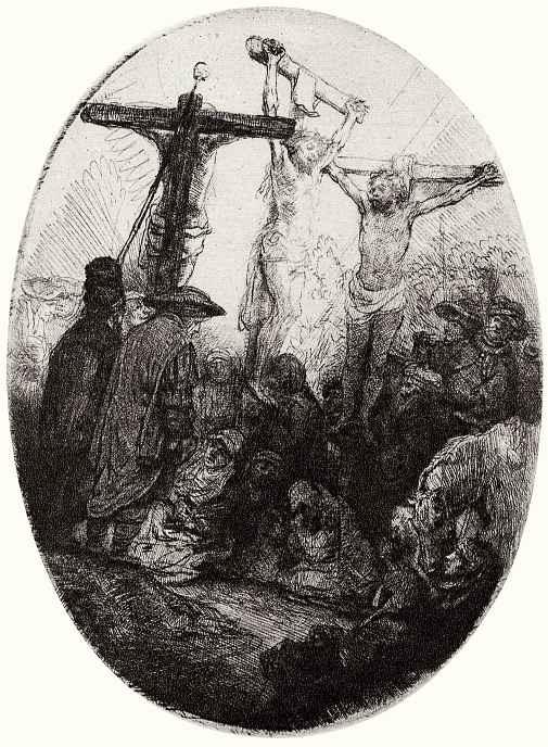 Рембрандт Ван Рейн. Христос на кресте между двумя разбойниками
