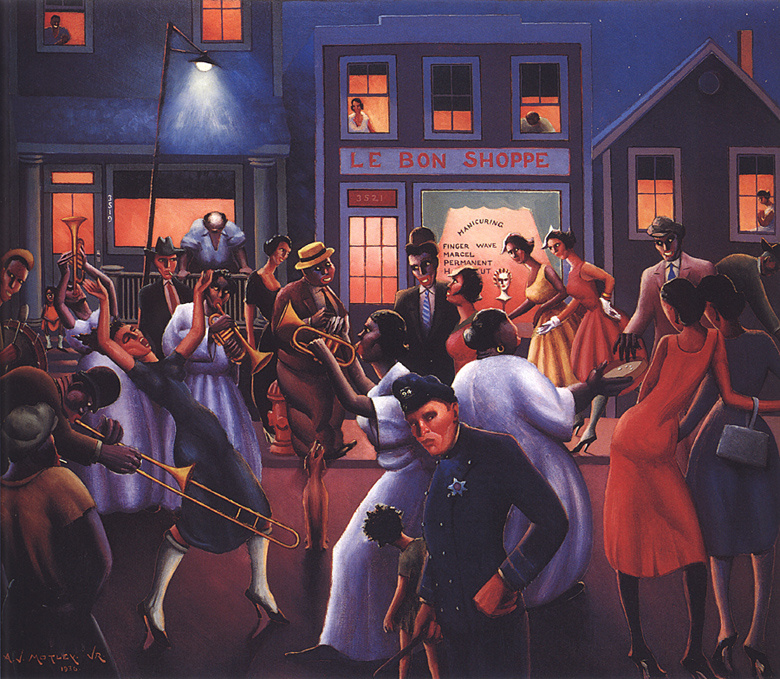 an interpretation of nightlife a painting by john motley jr